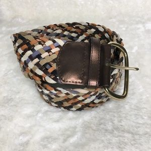 "Woven Multi Color Leather Belt Size Lge 2.5"" Wide"